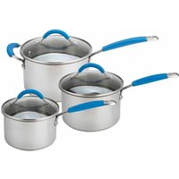 Joe Wicks Three Piece Stainless Steel Starter Saucepan Set