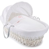 Clair De Lune Stardust White Wicker Moses Basket - Pink