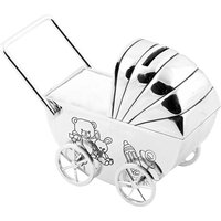 Bambino Silverplate Money Box Pram/Moving Wheels White