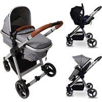 BabyLo Panorama 2in1 and Car Seat - Chrome / Herringbone Grey and Tan