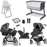 Silver Cross Pioneer Complete Travel System and Premium Nursery Bundle - Silver frame/Midnight Incl. Isofix