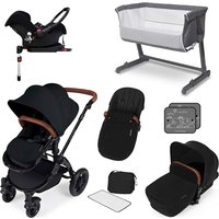 Ickle Bubba Stomp V3 Travel System and Essential Nursery Bundle - Black Chassis / Black