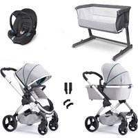 iCandy Peach Combo Travel System and Bedside Crib - Dove Grey - With Cozi Sleeper