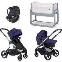 iCandy Orange Travel System and Bedside Crib - Indigo - With Snuzpod3
