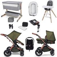 Ickle Bubba Stomp V4 SE Premium Travel and Nursery Bundle - Woodland Bronze