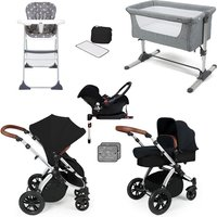 Ickle Bubba Stomp V3 Essential Travel and Nursery Bundle - Black Chassis / Silver