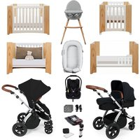 Ickle Bubba Stomp V3 Luxury Travel and Nursery Bundle - Silver Chassis / Black