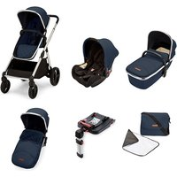 Ickle Bubba Eclipse Travel System with Galaxy Car Seat and Isofix Base - Midnight Blue (Black Handle)
