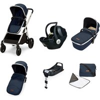 Ickle Bubba Eclipse Travel System with Mercury iSize car seat and ISOFIX - Midnight Blue (Black Handle)