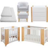 Cocoon Evoluer 4in1 + Dresser + R/Chair and Stool + Crib and Cot Bed Mattresses, Natural - White / Natural