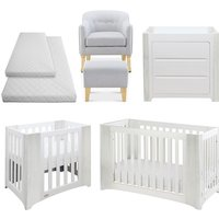Cocoon Evoluer 4in1 + Dresser + R/Chair and Stool + Crib and Cot Bed Mattresses, Grey - White / Grey