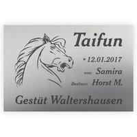 Hochwertiges Schild für Pferdebox aus Edelstahl mit Lasergravur