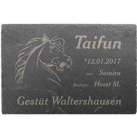 Exklusive Lasergravur Schiefertafel für Pferdebox im Pferdestall