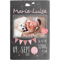 Schild zur Geburt eines Babys mit Foto - 200 x 300 mm - Design für Mädchen
