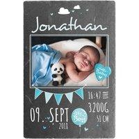 Schild zur Geburt eines Babys mit Foto - 200 x 300 mm - Design für Jungen