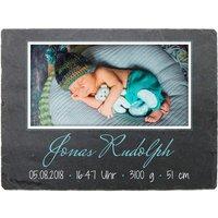 Schild zur Geburt mit Foto & Geburtsdaten - 200 x 150 mm - Design Junge