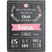 Schild zur Geburt eines Babys mit Geburtsdaten - 150 x 200 mm - Design Mädchen
