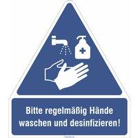 Gebots- Kombischild als Folie - Bitte regelmäßig Händewaschen und desinfizieren! PVC-Folie