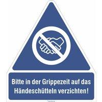 Gebots-Kombischild - Bitte in der Grippezeit auf das Händeschütteln verzichten! PVC-Folie