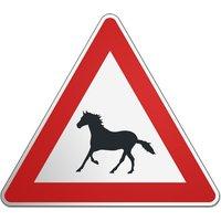 Dreieckiges Verkehrsschild mit Pferdemotiv und Wunschtext