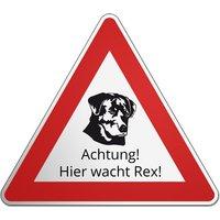 Gefahrenzeichen Hund - Hier wache ich - und Wunschtext