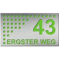 Edelstahl Design Hausnummernschild mit Straßenname Typ1
