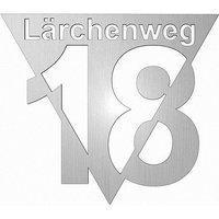 Edelstahl Design Hausnummer mit Straßenname Typ 4