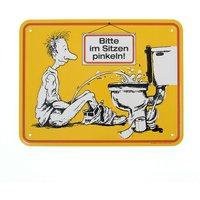 Lustiges Toilettenschild Stehpinkler