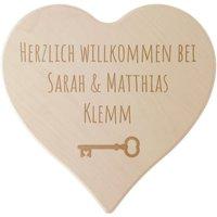 """Holzschild """"Herzlich Willkommen"""" mit Ihrem Wunschtext - Größe 24 cm - Gravur"""