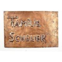 Namensschild aus Kupfer - Kupferschild 230 mm x 150 mm