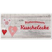 Dekoschild Hüttentraum mit Wunschtext - 200 x 100 mm Motiv Herzen