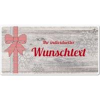 Dekoschild Hüttentraum mit Wunschtext - 200 x 100 mm Motiv Schleife
