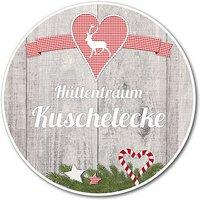 Dekoschild Hüttentraum Kuschelecke oder Wunschtext - 148 mm Motiv Hirsch