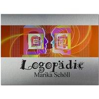 Edelstahlschild mit Logo und Wunschtext 260 x 200 mm