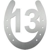 Edelstahlhausnummer Hufeisen 180 mm hoch