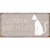"Dekoschild ""my home is where my cat is"" 300 x 150 mm taupe"