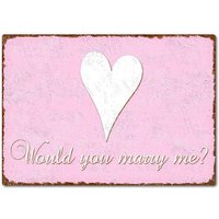 Would you marry me? Schild A4 rosa