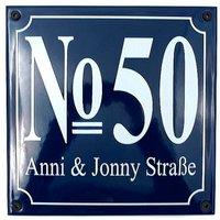 Blaue Emaille-Hausnummer mit Straßenname 21 x 21 cm blau/weiß