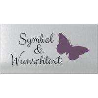 Aluminiumschild mit Wunschtext und Symbol - Größe 300 x 150 mm - silbern/schwarz