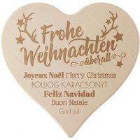 """Holzherz mit Motiv """"Frohe Weihnachten"""" 24cm"""