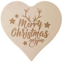 "Herz aus Holz mit Gravur ""Merry Christmas"" 24cm"