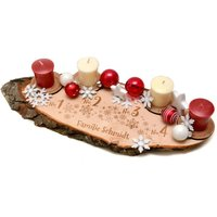"""Baumscheibe """"Schneeflöckchen"""" als Adventskranz - mit Wunschtext"""