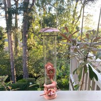 Copper Style Hanging Bird Seed Feeder with 4 Feeding Ports