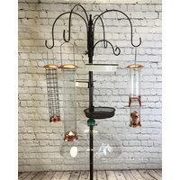 Deluxe Complete Metal Bird Feeding Station with Large Copper Feeders, 2 Water Dishes, Stabilizer Stand and Squirrel Baffle