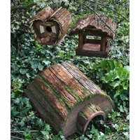 Wooden Hedgehog Hogitat with Bird House and Hanging Feeder