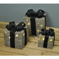 'Set Of 3 Led Light Up Silver Christmas Gift Boxes