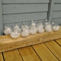 Set of 12x White Feather Clear Glass Christmas Tree Bauble (8cm)