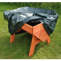 Veg-Trough Medium Wooden Raised Vegetable Bed Planter with Waterproof Cover and Extra Planting Liner