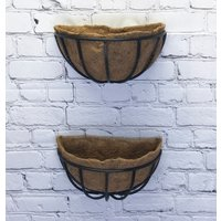 Set of 2 Manor Georgian Garden Black Metal Wall Basket Manger Trough Hayrack Planters (40cm)