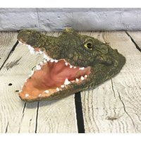 Floating Crocodile Head with Open Jaws Pond Feature Ornament